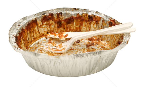 Empty take out food container with plastic knife and fork Stock photo © Habman_18