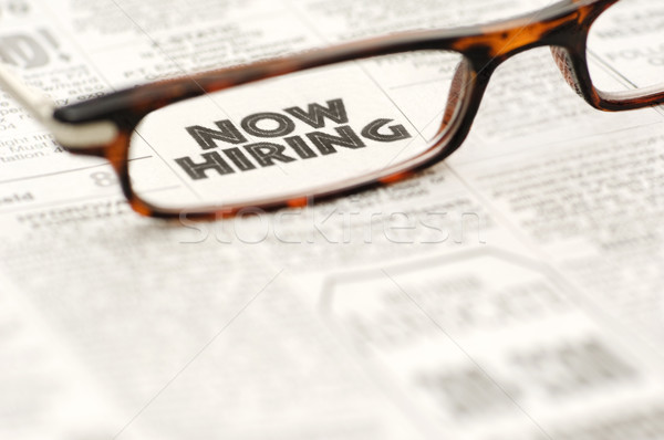 Now Hiring classified ad framed in glasses Stock photo © Habman_18