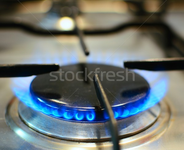 Fire on gas stove Stock photo © hamik