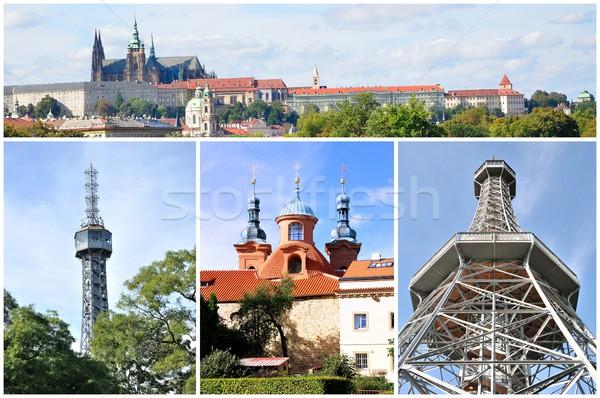 Прага коллаж фотографий башни мнение замок Сток-фото © hamik