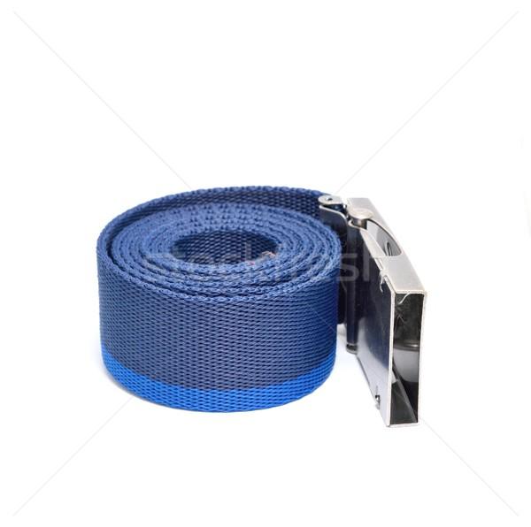 Bleu roulé ceinture blanche métal boucle Photo stock © hamik