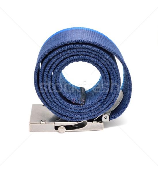 Blauw gordel witte metaal gesp Stockfoto © hamik