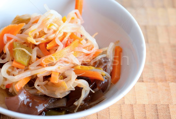 Chińczyk Sałatka fasola ucha grzyb puchar Zdjęcia stock © hamik