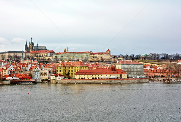 Vltava river and Prague castle panorama Stock photo © hamik