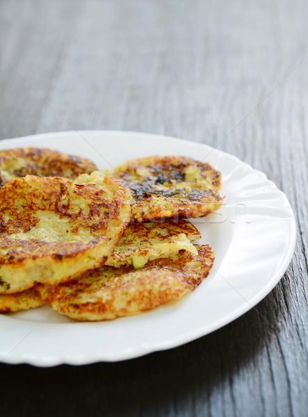Stockfoto: Courgette · aardappel · pannenkoeken · vers · witte