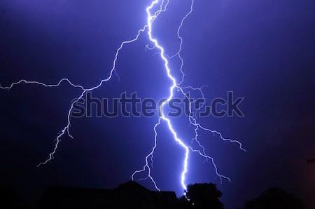Onweersbui nacht shot groot wolken Stockfoto © hamik