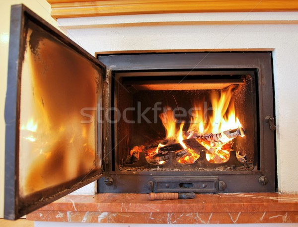 Open fireplace Stock photo © hamik