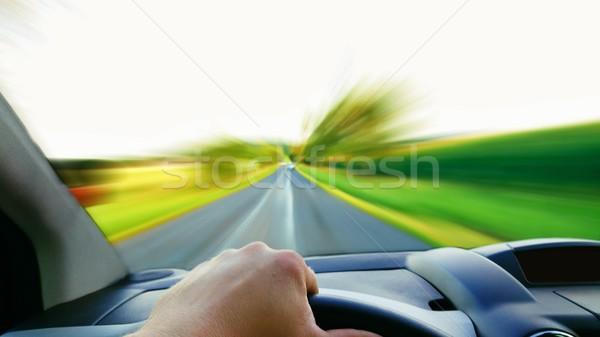 Driving a fast car POV Stock photo © hamik