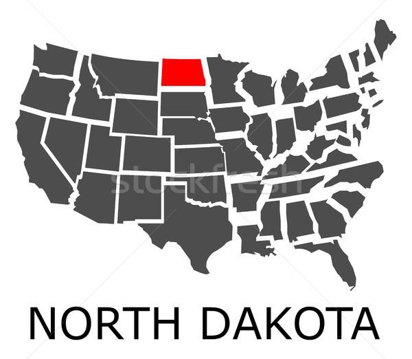 Kuzey Dakota harita ABD kırmızı renk imzalamak Stok fotoğraf © hamik