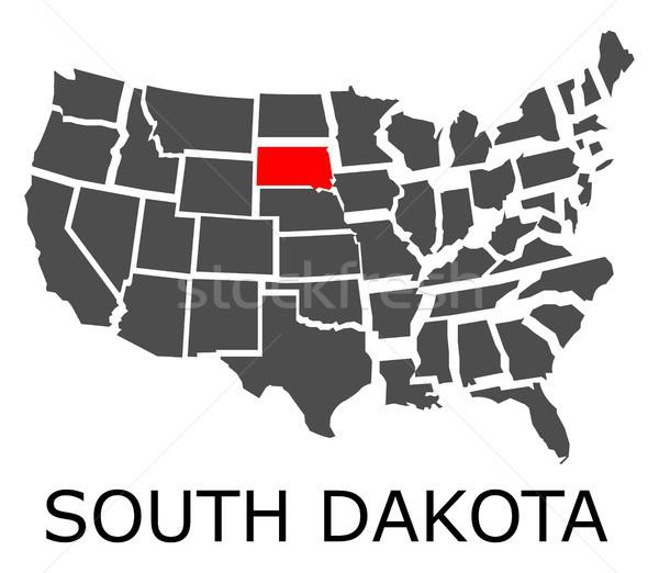 Stock fotó: Dél-Dakota · térkép · USA · piros · szín · utazás