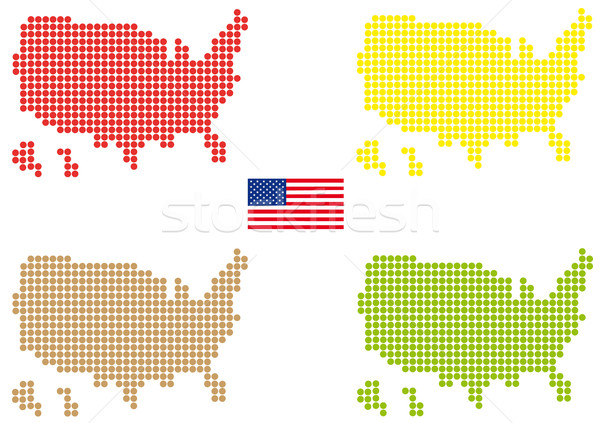 EUA mapa pintado pequeno projeto azul Foto stock © hamik