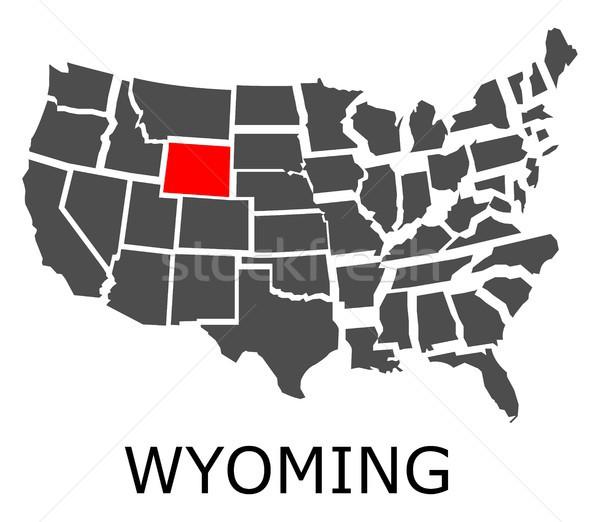 Wyoming térkép USA piros szín utazás Stock fotó © hamik