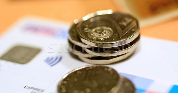 Moedas cartão de crédito tcheco branco cartão Foto stock © hamik