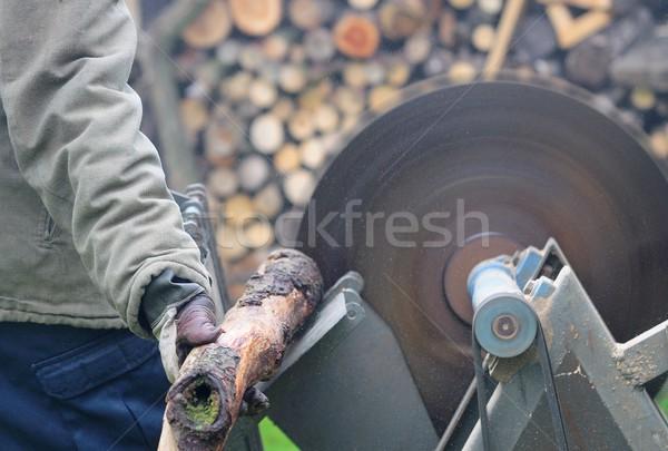 Homem madeira serra trabalhar tecnologia Foto stock © hamik
