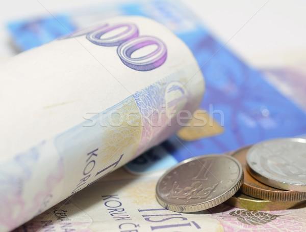 Tcheco moeda banco notas moedas cartão de crédito Foto stock © hamik