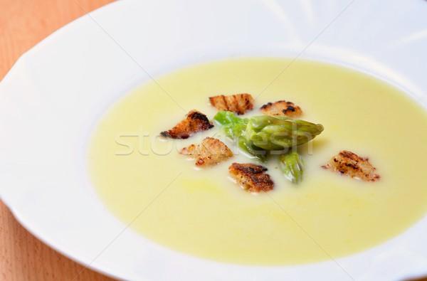 Espargos creme sopa inteiro verde cabeça Foto stock © hamik