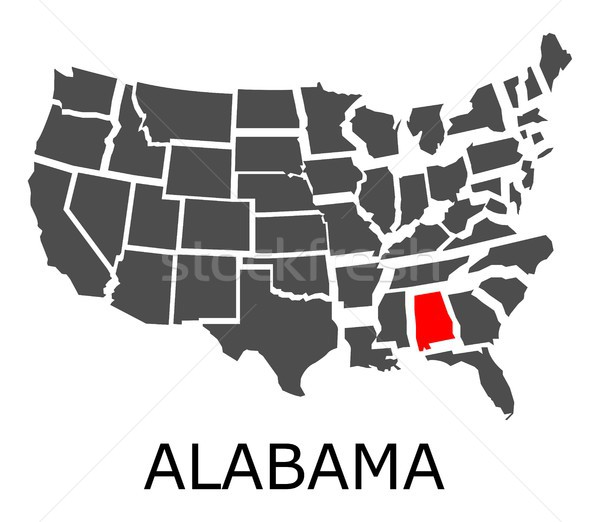 Foto d'archivio: Alabama · mappa · USA · geografico · rosso · colore