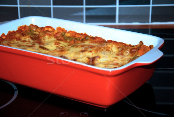 ラザニア 焼く 赤 ソーサー 食品 キッチン ストックフォト © hamik