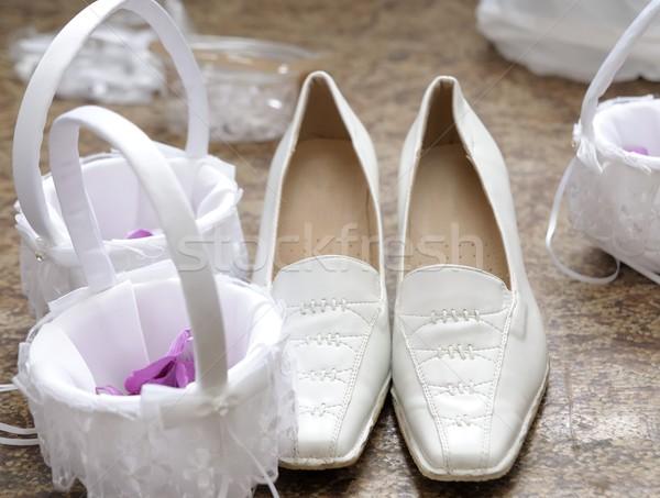 Sapatos pequeno roxo flores Foto stock © hamik
