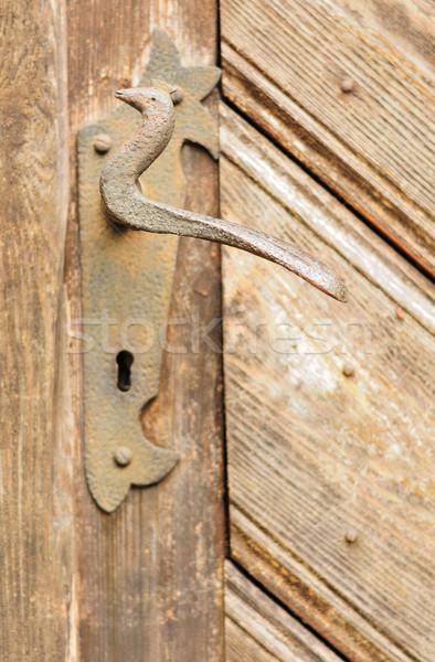 Porta manusear ver velho madeira Foto stock © hamik