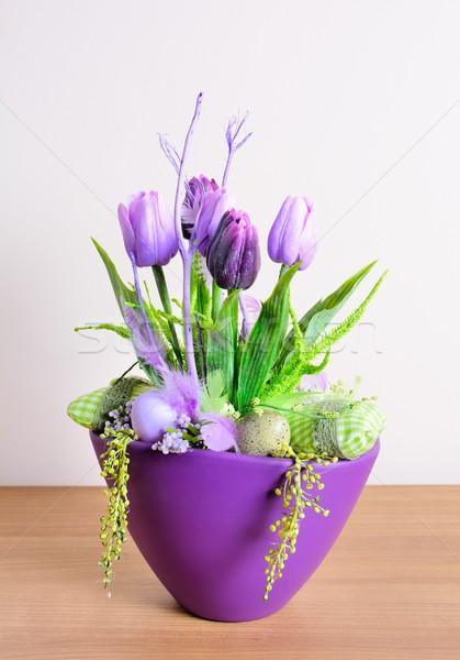 Páscoa casa decoração floral tabela caseiro Foto stock © hamik