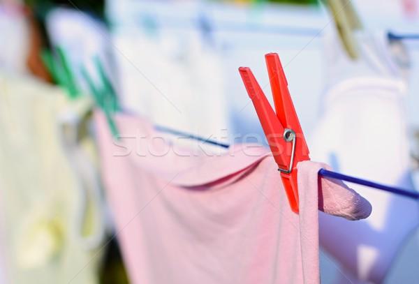 Szennyes piros szeg közelkép friss ruhaszárító Stock fotó © hamik
