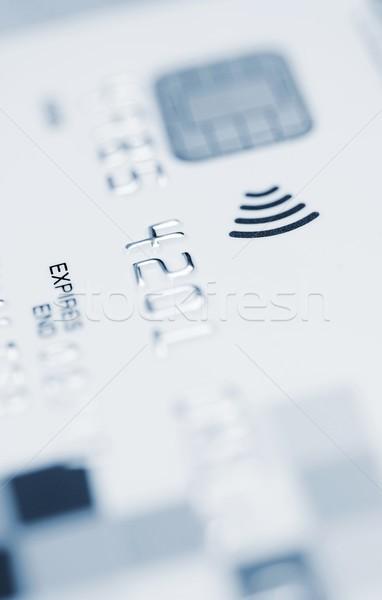 Cartão de crédito lasca macro tiro compras azul Foto stock © hamik