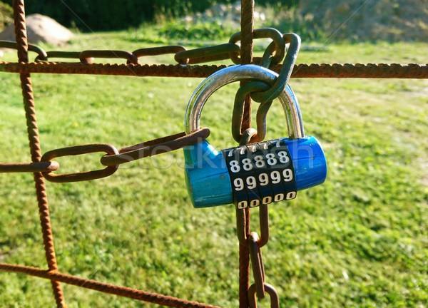 Zárolt kapu közelkép kert kód zár Stock fotó © hamik
