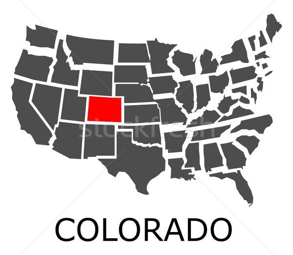 コロラド州 地図 米国 赤 色 旅行 ストックフォト © hamik
