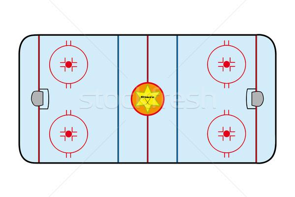 Jégkorong mező kilátás sport csillagok csillag Stock fotó © hamik