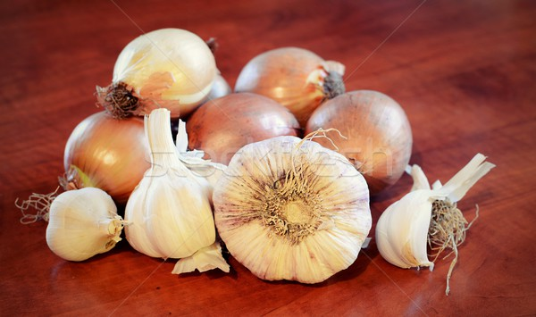 Stock photo: Garlics and onions