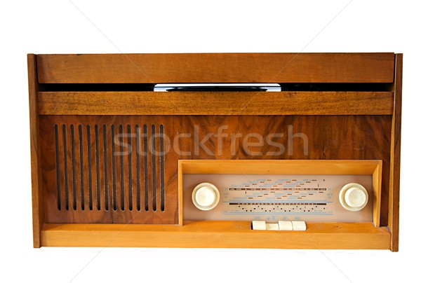 Retro gramofon ahşap vinil yalıtılmış beyaz Stok fotoğraf © hamik