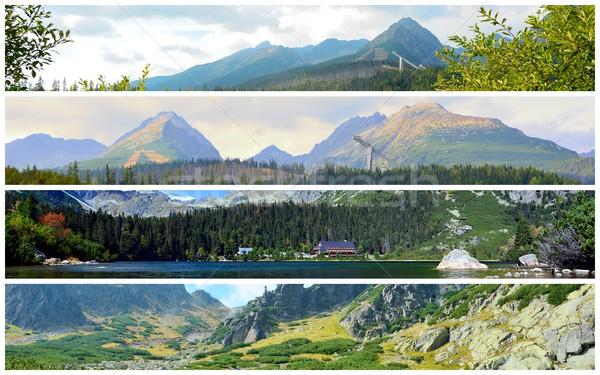 Alto montanhas colagem foto natureza água Foto stock © hamik