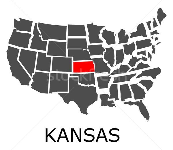 Kansas térkép USA piros szín utazás Stock fotó © hamik