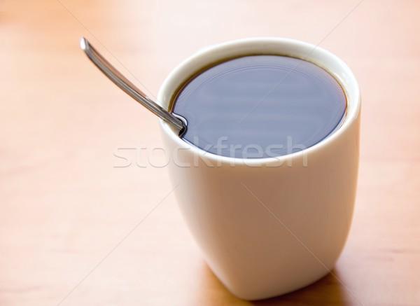 Quente café branco copo café preto colher Foto stock © hamik
