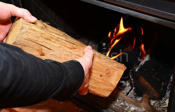加熱 暖炉 男 手 燃焼 木材 ストックフォト © hamik