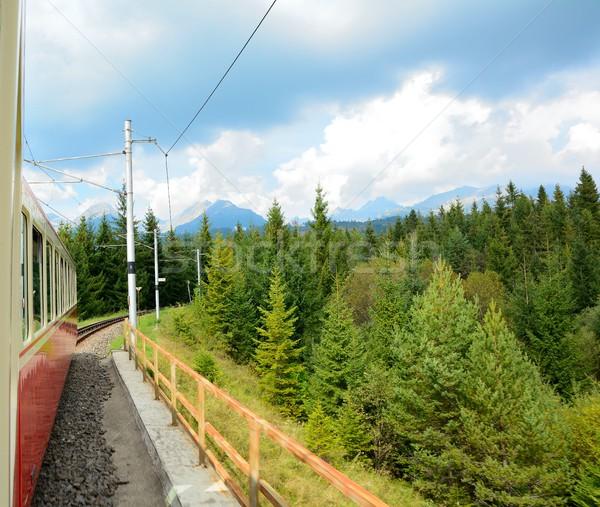 Kilátás száguld vonat magas hegyek ablak Stock fotó © hamik