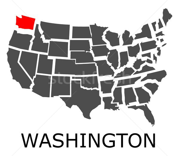Washington térkép USA piros szín utazás Stock fotó © hamik