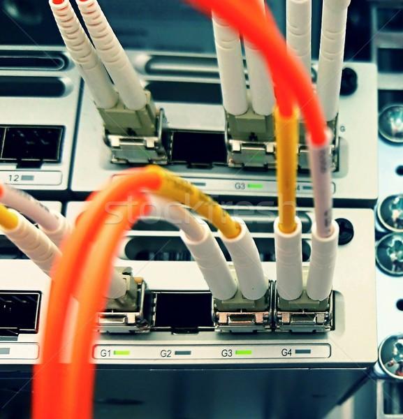 Fibre optique réseau connectivité switch Photo stock © hamik