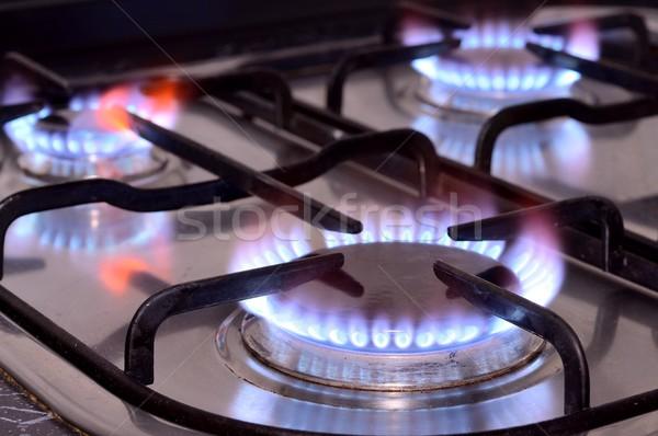 Keuken kachel shot brand gas Stockfoto © hamik
