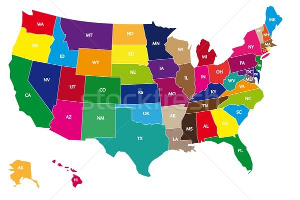 Cor mapa EUA pormenor nome projeto Foto stock © hamik