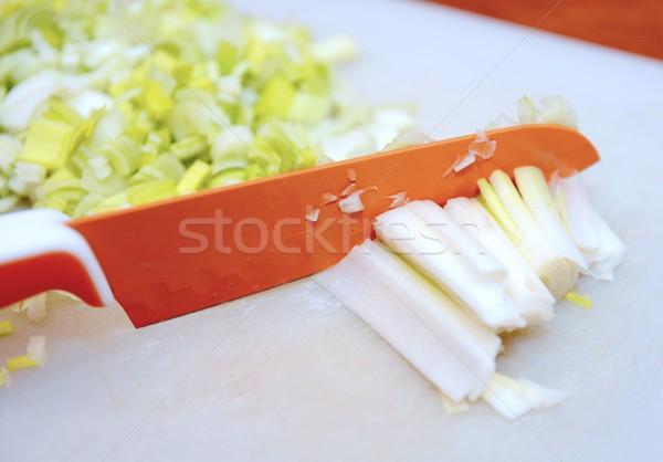 Alho-porro faca fresco pequeno Foto stock © hamik