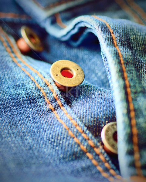 Jeans knoppen vliegen stuk Stockfoto © hamik