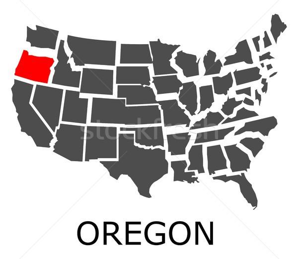 Oregón EUA mapa rojo color viaje Foto stock © hamik
