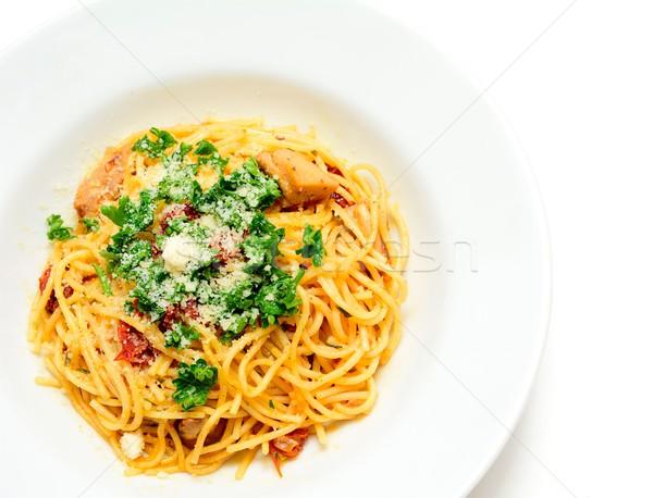 Spaghetti tomaten kip vlees parmezaan zon Stockfoto © hamik