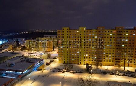 Nacht stad communist woon- blokken huizen Stockfoto © hamik