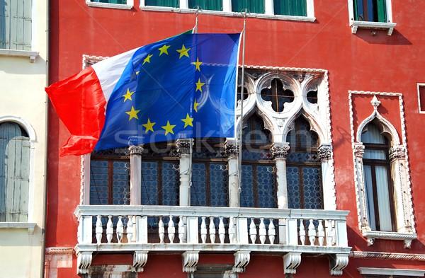 Casa bandiere Venezia stelle blu viaggio Foto d'archivio © hamik