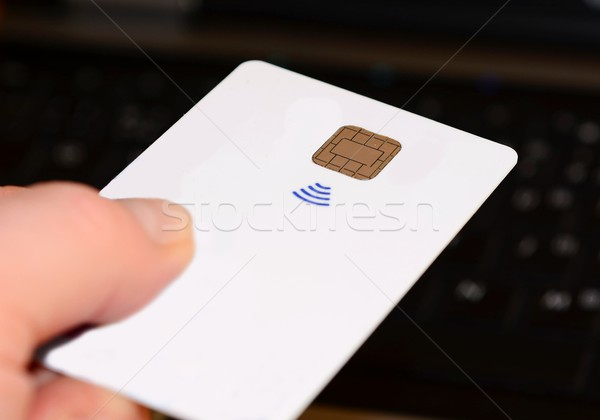 Cartão de crédito mão branco Foto stock © hamik