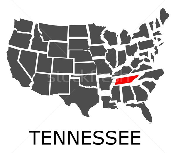 State of Tennessee on map of USA Stock photo © hamik