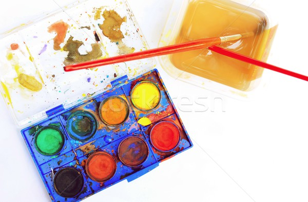 Old watercolor palette box with brush Stock photo © hamik